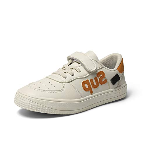 INMINPIN Kids'Casual Sneakers Boys GirlsComfort LightweightTennis ShoesFashion Soft Outdoor Walking Shoes,White/Orange,10.5 Toddler
