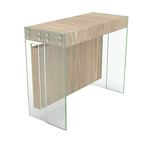 VE.CA.s.r.l. Mesa consola extensible Crystal con porta extensiones de cristal – extensible de 40 cm y 250 cm, en 10 colores de madera – decoración cocina hogar diseño (roble Rock)