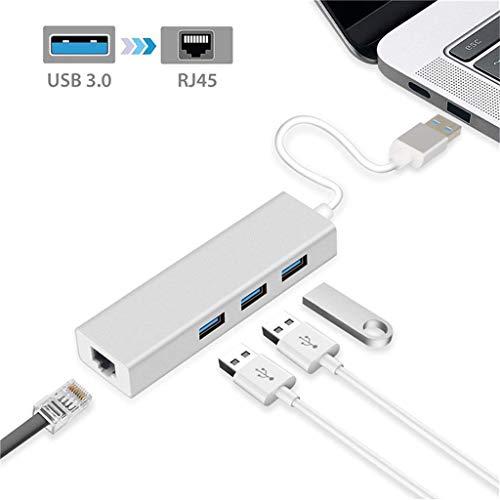 Hub USB, USB-naar-Ethernet-hub-adapter, ondersteuning 100/1000 Mbps Ethernet-netwerk, ondersteuning van Windows XP, Vista, Win7/8 (32/64 Bit), Mac OS 10.6 en hoger.