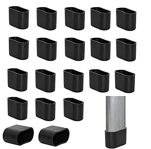 DANSHEN 20Stück Stuhlbeinkappe Stuhlbeinschutz Bodenschutz Fußkappen für Gartenstühle Fußkappen für Klappsessel Ersatzkappen aus hochwertigem Kunststoff (20x40mm)