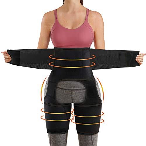 Bingrong Faja Cintura 3 en 1 para Mujer Cinturón Neopreno de Sudoración Entrenador de Cintura Fitness con Velcro Faja Deportiva para Piernas Waist Trainer (Negro, Medium)