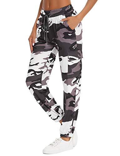Doaraha Pantalon Jogging Femme en Coton Large avec 4 Poches Léger Confortable et Agréable à Porter Idéal pour Sport Yoga et Fitness en Printemps et Été Grande Taille S-XXL