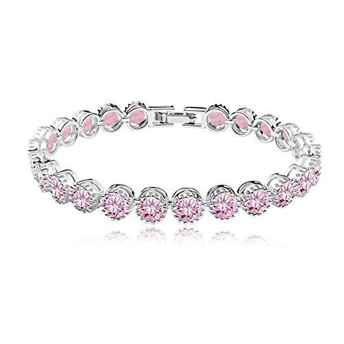 ZHANGXJ Pulseras de Mujer Pulsera DE Tenis Pulsera Cristal Pulseras de Moda Madre de San Valentín Regalo de Joyería de Cumplea?os Niversario para Esposa Mamá Novias (Color : Pink)
