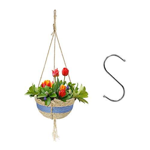 Halcyerdu Colgador para Plantas, Colgante de Plantas Maceta Cuerda de Seagrass Titular, Cesta Colgante Plantas de Interior y Exterior, para Colgar Canasta para Jardín Decoraciones de Pared