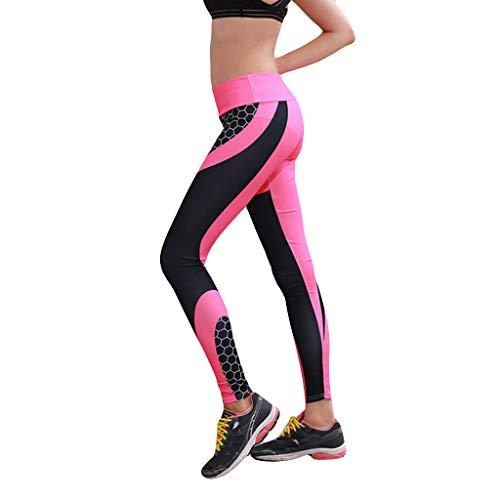 FRAUIT Damen Sport Leggings Mode Honeycomb Drucken Dicke Yogahose mit hoher Taille und Taschen Gitter Laufen Fitness Yoga Hosen