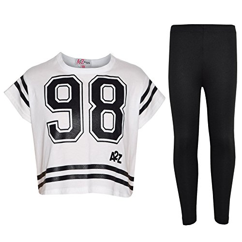 Girls Top Kids 98 Print Stylish Crop Top & Fashion Legging Set Age 7-13 Years White
