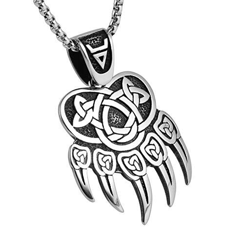 AsAlways Stainless Steel Norse Viking Wolf Paw Print Pendant Gothic Celtic Knot Paw Ring Men Retro Bear Claw Biker Band Rings Rock Punk Vintage Style Ancient Symbol Amulet (Style-1)