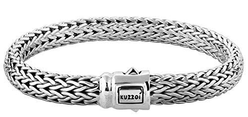 Kuzzoi Buddha Design Silber-Armband für Herren, handgefertigtes Armband aus massiven 925er Sterling Silber, Exklusives Herren-Armband Gravur, 10mm breit, 66g schwer 335204-021