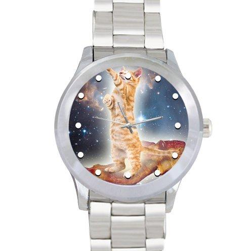 ノベルティギフトCool Cat On肉でGalaxy Spaceメンズ100%ステンレススチールWatch