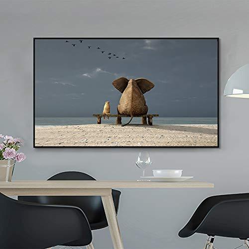 Wandkunst Leinwandbilddruck Tierfreundschaft Elefantenhund für Wohnzimmer Hauptdekoration,Rahmenlose Malerei-40X70cm