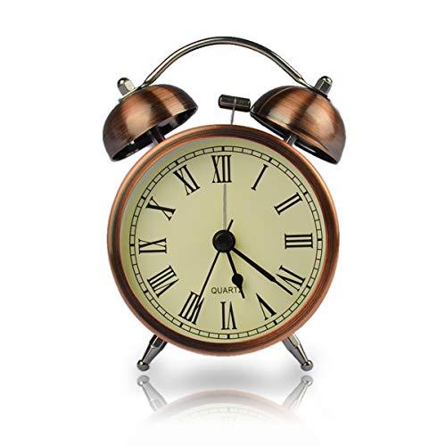 """Coolzon Relojes Despertadores Analogico, Doble Campanas Relojes Despertadores de Mesita Despertadores Vintage Silencioso sin Tictac Despertador Infantil con Luz de Noche, 3\""""Números Romanos"""