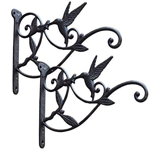 Cast Iron Plant Hooks Vintage Wall Hanging Brackets for Lanterns,Planters,Flower Pot Baskets,Wind Chimes,Wind Spinners,Bird Feeders,Garden Patio Lawn Indoor Outdoor Decor (Brown 2 Pack)