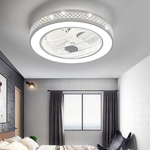 21.6'Ceiling Fan with Lights, Enclosed Round LED Dimmable Ceiling Lighting Fan with Invisible Blades,Semi Flush Mount Low Profile Fan W/Remote Control for Bedroom Living Room Children's Room 110V (Grid Fan Light)