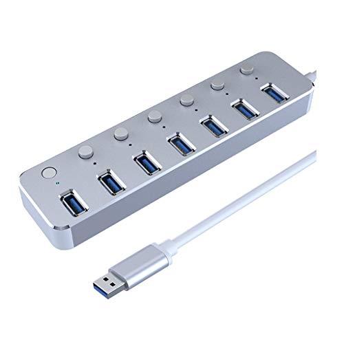TWDYC Interruptor de subcontrol de Cable de 120 cm de Aluminio de 7 Puertos USB 3.0 Curso DE Cable DE USB USB 3.0 CURTADOR DE Cable NINGUBIERTE DE LED para Dispositivos Multi USB (Color : Silver)