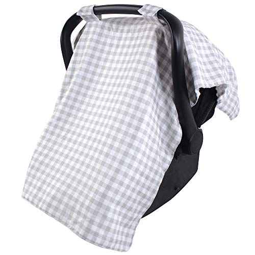 Hudson Baby Unisex Baby Reversible Car Seat and Stroller Canopy, Gray Gingham, One Size