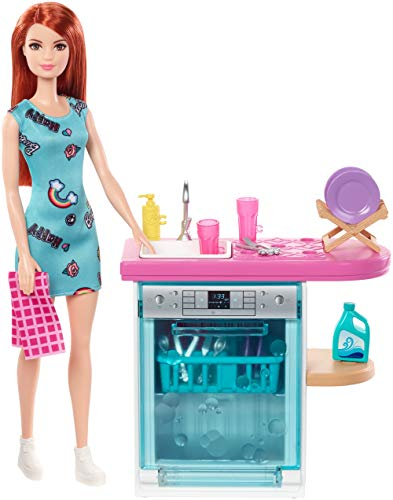 Barbie Indoor Furniture Playset, Kitchen Dishwasher with Working Door and Pull-Out Tray, Plus Dishes and Washing Accessories