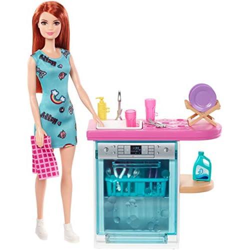 Barbie Set di Arredamenti da Interno, con Lavastoviglie, Sportello Funzionante e Cestello Estraibile, Piatti e Accessori per Il Lavaggio, Bambola Non Inclusa, Giocattolo per Bambini 3 + Anni, FXG35
