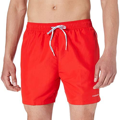 Calvin Klein Medium Drawstring Bañador para Hombre, Rojo Feroz, M
