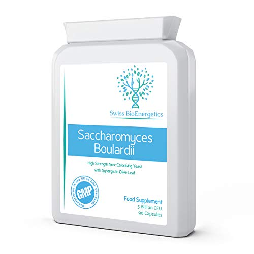 Saccharomyces Boulardii 5 Billion CFU 90 Capsules - No Refrigeration Required - High Strength Non-Colonising Yeast with synergistic Olive Leaf, Biotin and Vitamin D3