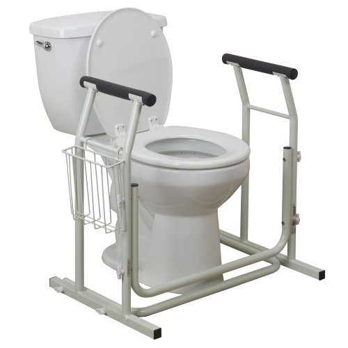 Drive Medical Stand Alone Toilet Safety Rail, White, EA