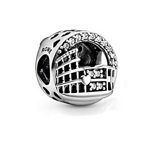 Charm Anhänger,925 Sterling Silber Rome Colosseum Openwork Charms Perlen Passen Original Armbänder Frauen Diy Schmuck