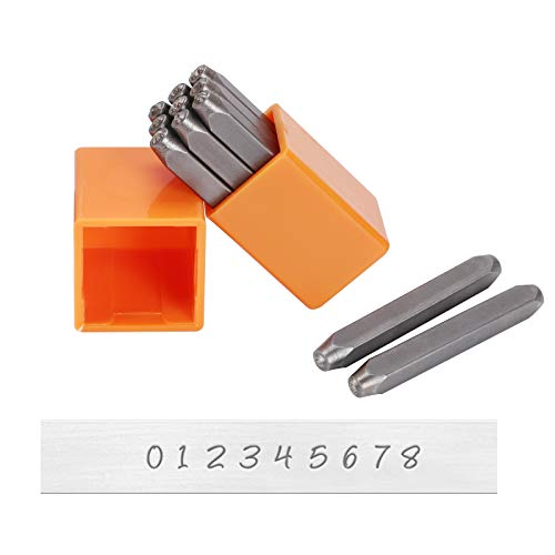 ManLee Metal Stamps 3mm 9Pcs Metal Number Punches for Jewelry Making Number Stamp Set Include Number from 0 to 8 Perfect for Imprinting Metal Plastic Wood Leather