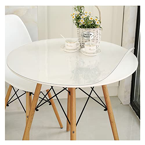 Protector mesa transparente,Mantel redondo,PVC transparente impermeable plástico manteles mesa,prueba aceiteAntiincrustante y fácil de limpiar,se puede personalizar,1.5mm thick,Dia.105cm/41.3in