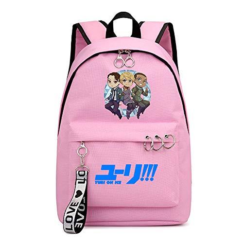 Mochila de Anime Yuri on Ice Diseñada para Niños y Niñas Mochila Escolar Informal para Estudiantes 30×16×44cm Negro Rosa