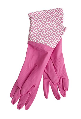 Glam Gloves Diswashing Gloves for Cleaning, Thick Latex Gloves for The Kitchen, Bathroom & Home, Long Sleeves, 1 Pair of Gloves, Colors May Vary, One Size Fits All Dishwashing Gloves