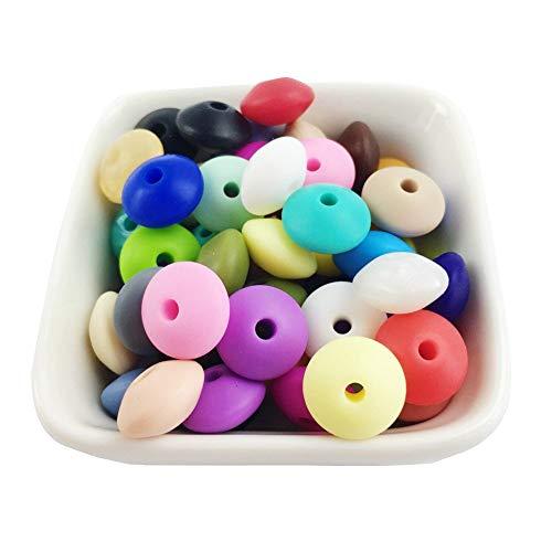 Mamimami Home 100PC Cuentas de silicona Color mezclado Abacus beads Grado de comida Bebé dientes Perlas masticables