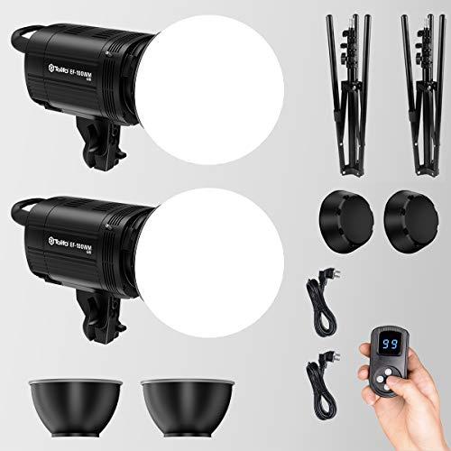 Tolifo - Set di 2 luci video a LED, 100 W, luce continua 5600 K, CRI 95 + lampada video con interfaccia Bowens, diffusore da 200 mm, telecomando, paralume e senza fili per foto video interviste