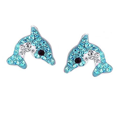 FIVE-D - Orecchini da bambina a forma di delfino, in argento Sterling 925, con custodia e Argento, colore: blu/bianco, cod. SL-kinderkristall153a