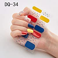 14ピース/シートキラキラグラデーションカラーネイルステッカーネイルラップフルネイルステッカーDIYの自己接着ネイルアート装飾 (Color : DQ 34)