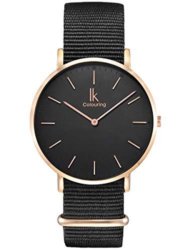 Alienwork Damen Herren Armbanduhr Quarz Rose-Gold mit NATO-Armband schwarz Ultra-flach Slim-Uhr