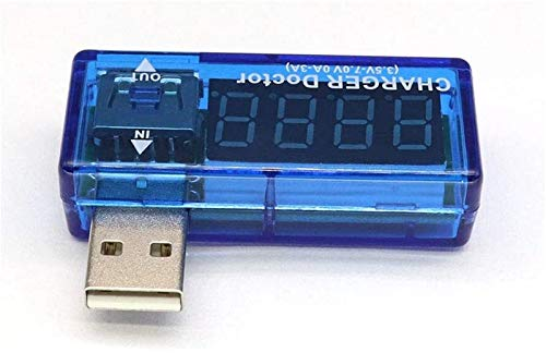 SLL Probador de energía USB, Detector de Carga de Voltaje de Corriente Voltímetro de batería Multímetro Multímetro Multímetro Tester USB Mobile Power DC LED Pantalla (Azul) Multifunción