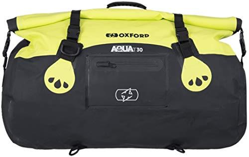 Oxford Borsone per moto Aqua T30, impermeabile, da 30 litri di capacità, nero e giallo fluo