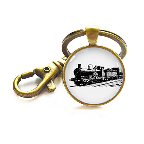 Llavero de tren, encanto de tren, motor de vapor, locomotora llavero, regalos de tren para hombres, encanto de joyería de ferrocarril, motor de vapor tren llavero-JV59