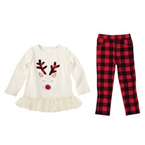 Mud Pie Alpine Village Reindeer Tunic Legging,Multicolored,2T