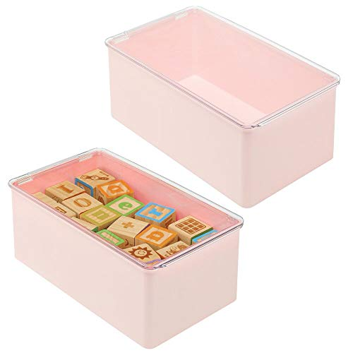 mDesign Playroom Stackable Plastic Storage Box with Lid - for Organizing Baby/Child's/Kids Toys, Action Figures, Crayons, Markers, Blocks, Puzzles, Crafts, Crayons, Dog/Cat Toy Box, 2 Pack, Light Pink