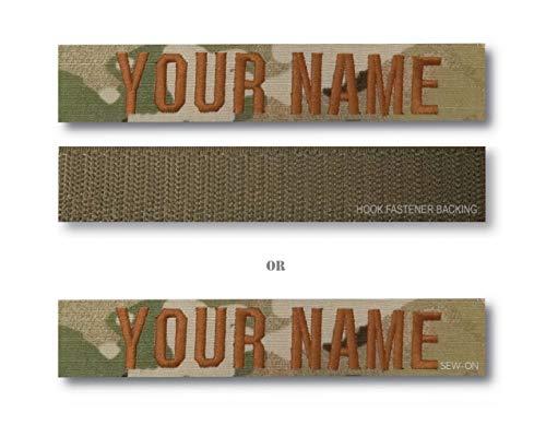 (SINGLE PACK) US AIR FORCE Branch & Custom Name Tape (OCP) Hook Fastener Backing or Sew-On (7' Custom Name (Sew-On))