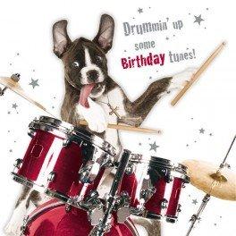 Hunde Karte - Drumming Dog - Grußkarte