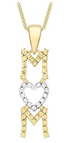 Carissima Gold 9ct 2 Colour Gold Diamond Cut 'MUM' Pendant on Curb Chain Necklace of 46cm/18'