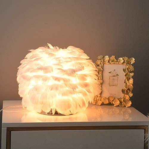 Wgxssjc Lámparas de Mesa Tabla de Plumas lámpara de cabecera del Dormitorio de niña de la lámpara Toque romántico Mesa de Boda pequeña lámpara de Regalo de cumpleaños de la luz roja Neta