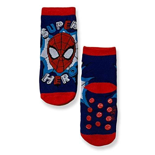 Marvel Calcetines antideslizantes Spiderman para niño de algodón 3308 navy 31W x 34L