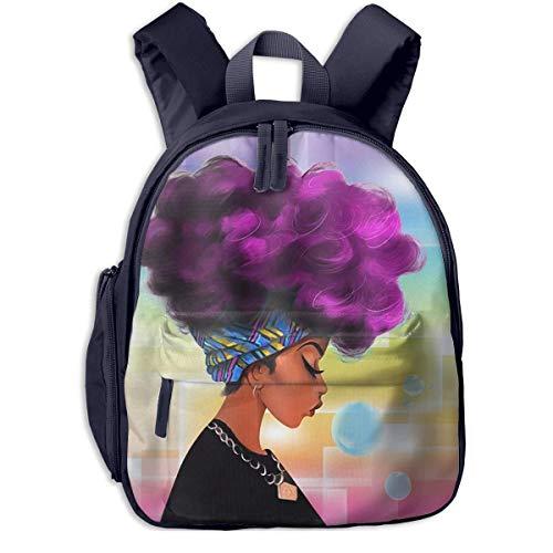 ADGBag Mochila para niños Mochila Escolar African Women with Purple Hair Hairstyle Children