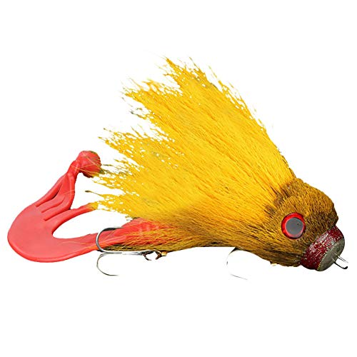 ENticerowts Señuelo De Pesca Ratón Forma De Rata Cebo De Agua Dulce Señuelo De Pesca con Mosca De Agua Salada con Ganchos Dobles Naranja