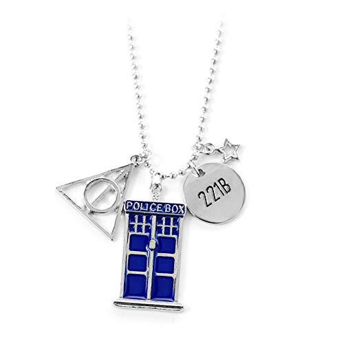 MINTUAN The Deathly Hallows 221B Placa pequeña y Azul Dr Who Tardis Police Box Colgante Collar DIY joyería de Moda para Mujeres Hombres