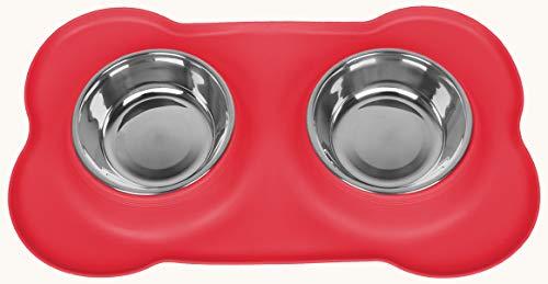 Speyang Ciotole per Cani Gatti,Realizzata in Acciaio Inossidabile, con Tappetino Silicone Antiscivolo, 2 PCS 400ml Ciotola per Cane in Acciaio Inossidabile (Red)
