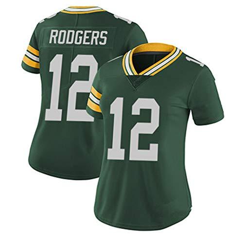 # 12 Rodgers Packer Damen Rugby-Trikot, Damen Schnell trocknendes Shirt Training T-Shirts Mesh Kurzarm, Fitness Polyester Faser Sweatshirt (XS-XL)-Green-L