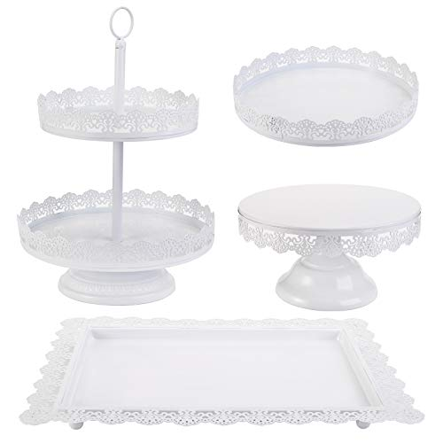 TOPZEA Set of 4 Cake Stands, Metal Cupcake Holder Tiered Dessert Serving Tower Fruit Display Plates for Tea Party, Birthday, Wedding, Anniversary, Celebration, Halloween, White